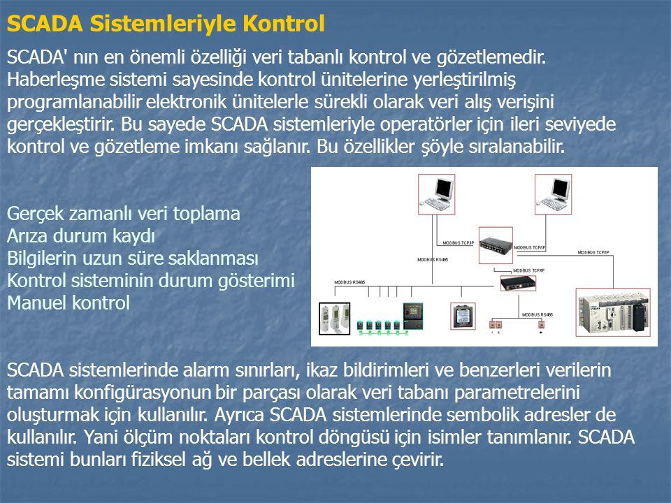 SCADA Sistemleriyle Kontrol SCADA nın en önemli özelliği veri tabanlı kontrol ve gözetlemedir.