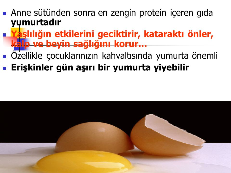 Anne sütünden sonra en zengin protein içeren gıda yumurtadır Yaşlılığın etkilerini geciktirir, kataraktı önler, kalp ve beyin sağlığını korur… Özellikle çocuklarınızın kahvaltısında yumurta önemli Erişkinler gün aşırı bir yumurta yiyebilir