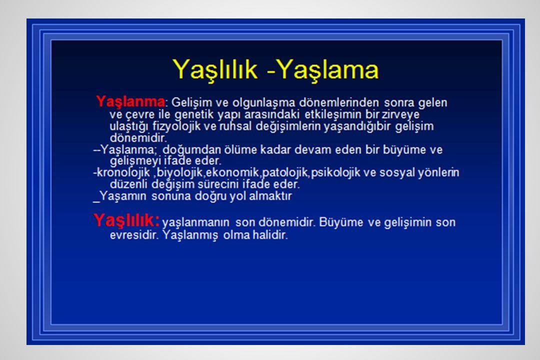 **Türkiye'de yaşlıların demografik özellikleri-2 l Eğitim durumu –Yetişkin okur yazarlık oranı %88,1 yaşlı nüfusun okuryazarlık oranı %57, 85 yaş ve üzerinde %42 –Kadınlarda, özellikle de yaşlı kadınlarda bu oran düşmekte –Yaşlıların ancak %39'u ilkokula, %8'i ortaokula devam etmiştir.