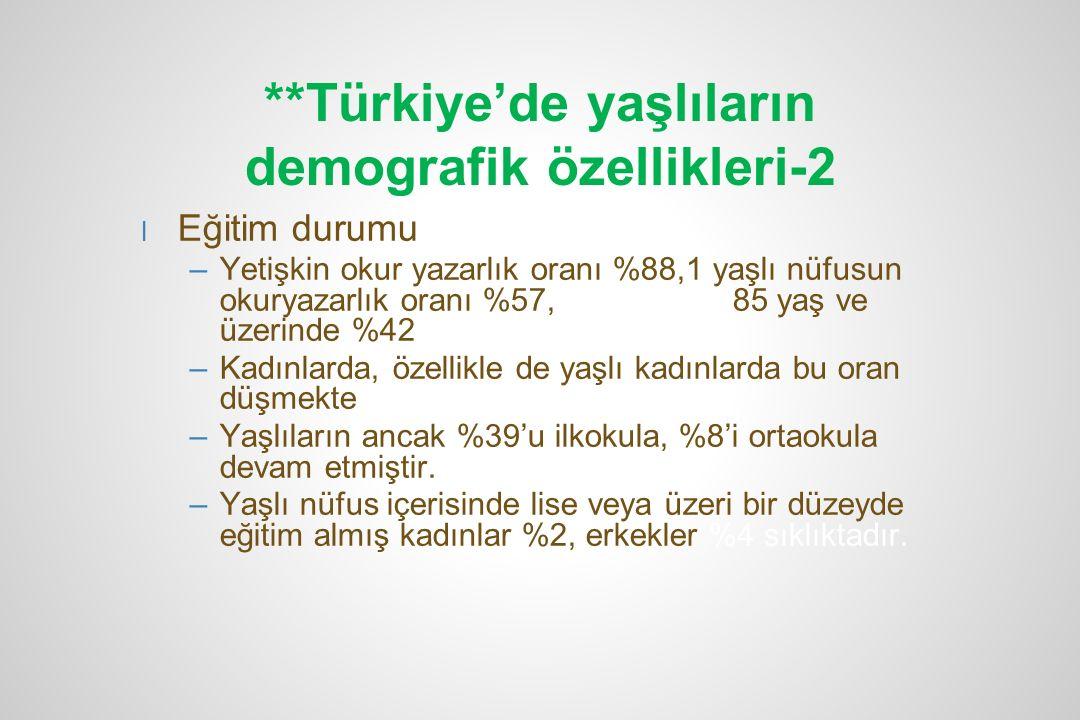 **Türkiye'de yaşlıların demografik özellikleri-2 l Eğitim durumu –Yetişkin okur yazarlık oranı %88,1 yaşlı nüfusun okuryazarlık oranı %57, 85 yaş ve ü