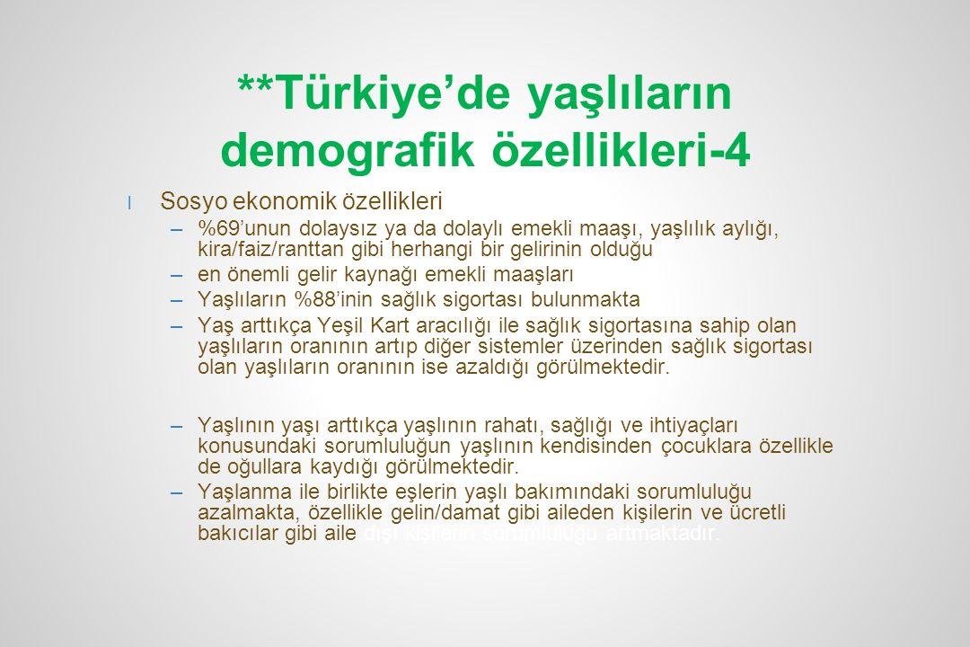 **Türkiye'de yaşlıların demografik özellikleri-4 l Sosyo ekonomik özellikleri –%69'unun dolaysız ya da dolaylı emekli maaşı, yaşlılık aylığı, kira/fai
