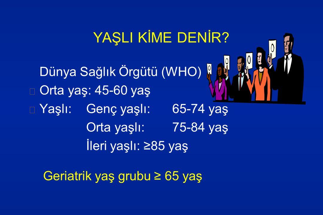 Dünya Sağlık Örgütü (WHO) Orta yaş: 45-60 yaş Yaşlı:Genç yaşlı:65-74 yaş Orta yaşlı:75-84 yaş İleri yaşlı:≥85 yaş Geriatrik yaş grubu ≥ 65 yaş