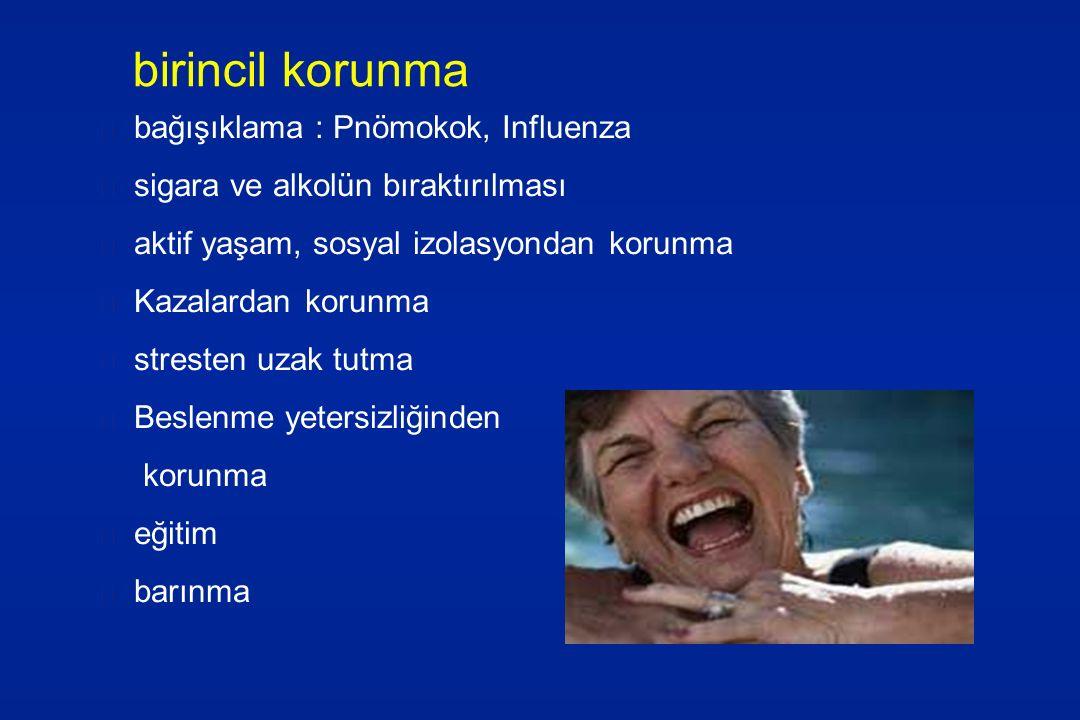 birincil korunma bağışıklama : Pnömokok, Influenza sigara ve alkolün bıraktırılması aktif yaşam, sosyal izolasyondan korunma Kazalardan korunma strest