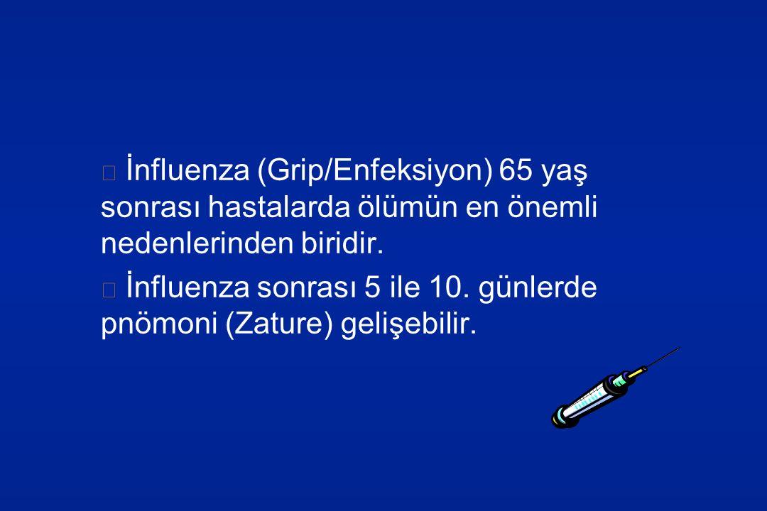 İnfluenza (Grip/Enfeksiyon) 65 yaş sonrası hastalarda ölümün en önemli nedenlerinden biridir. İnfluenza sonrası 5 ile 10. günlerde pnömoni (Zature) ge