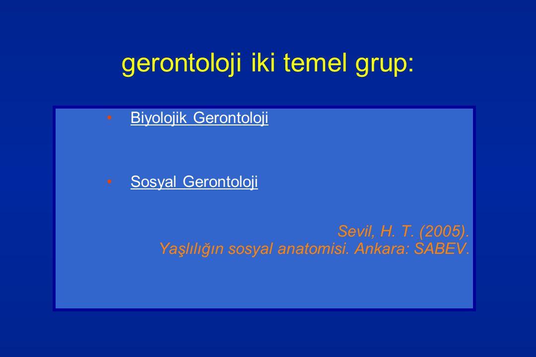 gerontoloji iki temel grup: Biyolojik Gerontoloji Sosyal Gerontoloji Sevil, H. T. (2005). Yaşlılığın sosyal anatomisi. Ankara: SABEV.