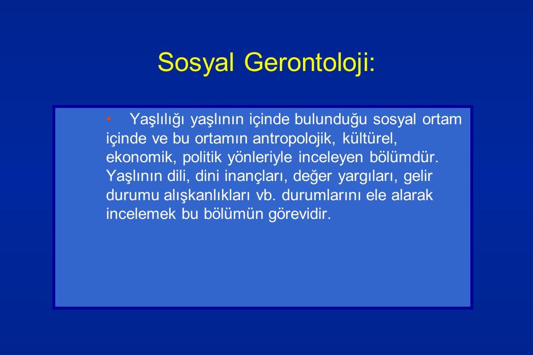 Sosyal Gerontoloji: Yaşlılığı yaşlının içinde bulunduğu sosyal ortam içinde ve bu ortamın antropolojik, kültürel, ekonomik, politik yönleriyle inceley