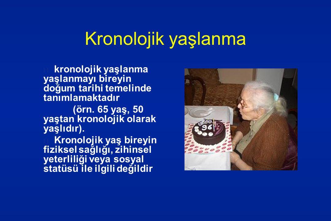 Kronolojik yaşlanma kronolojik yaşlanma yaşlanmayı bireyin doğum tarihi temelinde tanımlamaktadır (örn. 65 yaş, 50 yaştan kronolojik olarak yaşlıdır).