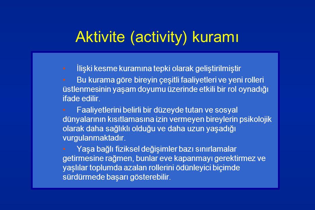 Aktivite (activity) kuramı İlişki kesme kuramına tepki olarak geliştirilmiştir Bu kurama göre bireyin çeşitli faaliyetleri ve yeni rolleri üstlenmesin