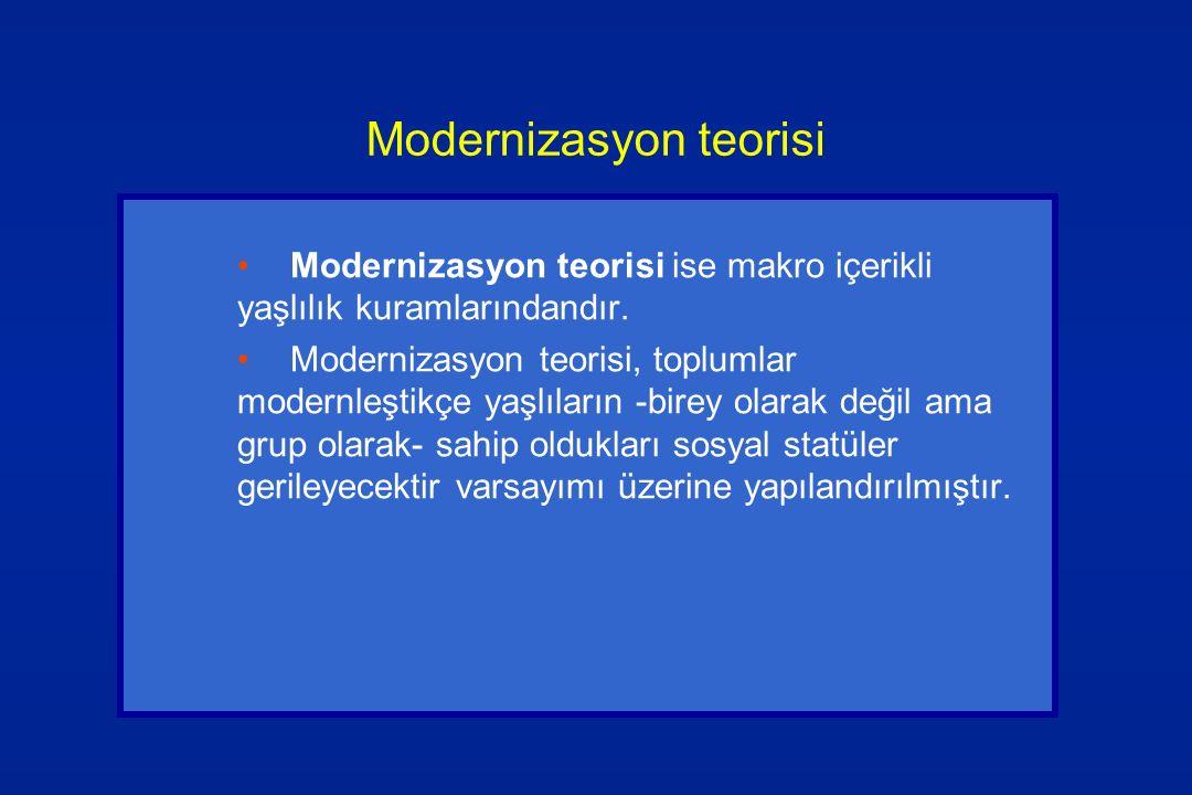 Modernizasyon teorisi Modernizasyon teorisi ise makro içerikli yaşlılık kuramlarındandır. Modernizasyon teorisi, toplumlar modernleştikçe yaşlıların -