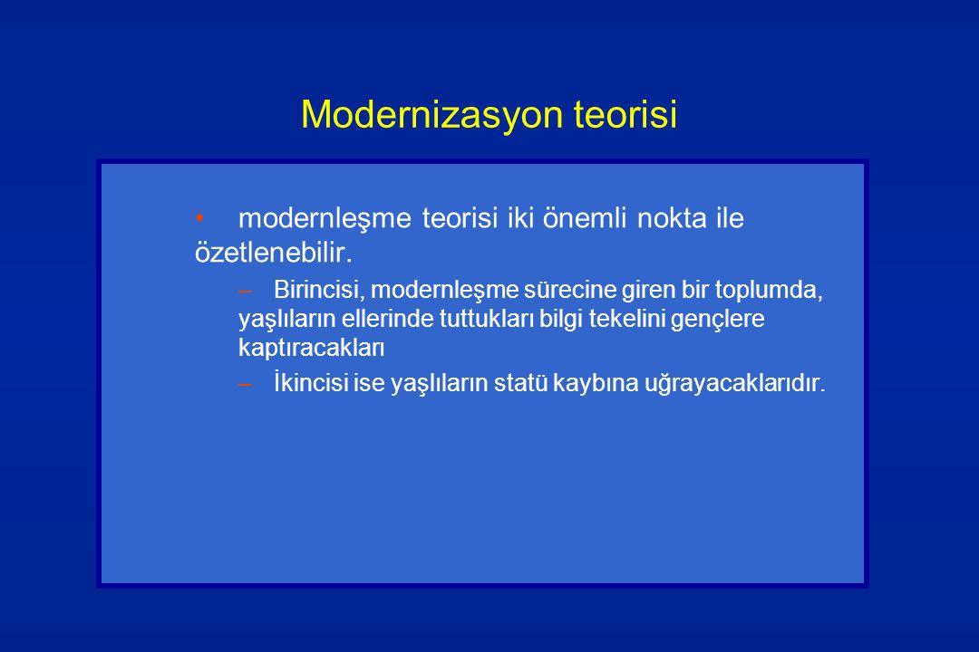 Modernizasyon teorisi modernleşme teorisi iki önemli nokta ile özetlenebilir. –Birincisi, modernleşme sürecine giren bir toplumda, yaşlıların ellerind