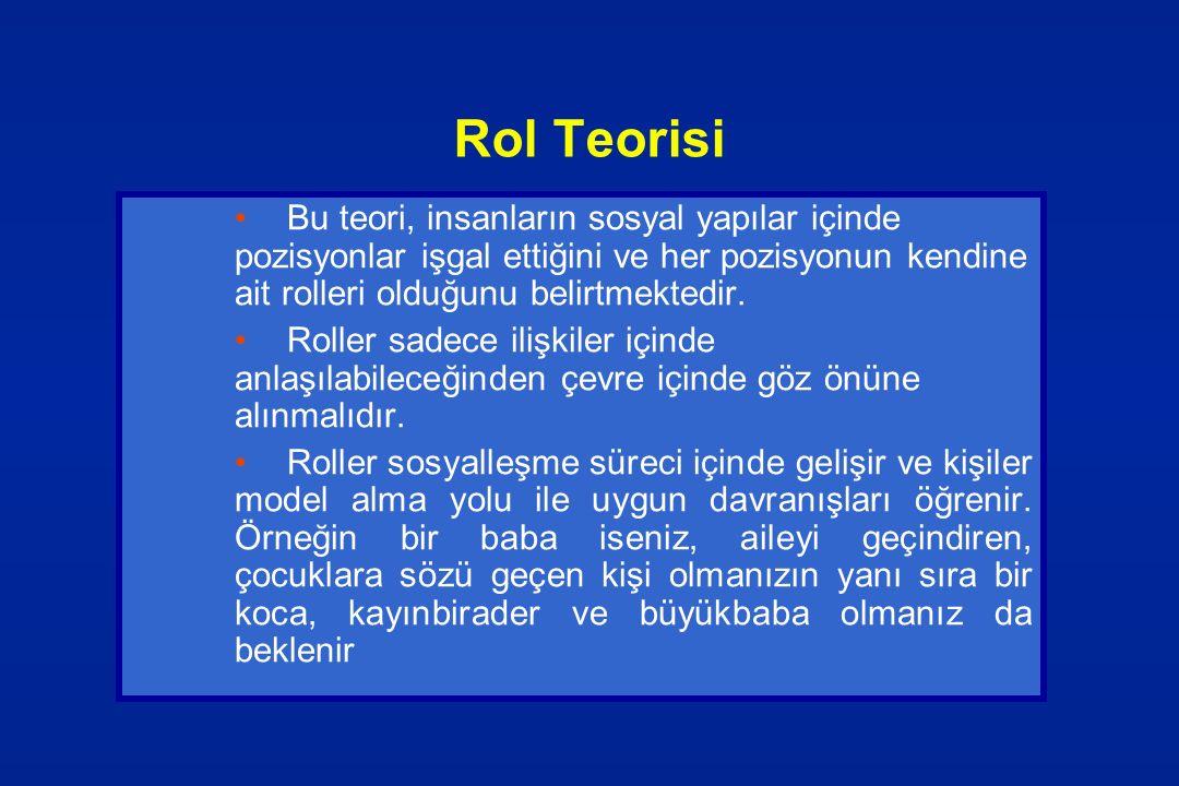 Rol Teorisi Bu teori, insanların sosyal yapılar içinde pozisyonlar işgal ettiğini ve her pozisyonun kendine ait rolleri olduğunu belirtmektedir. Rolle