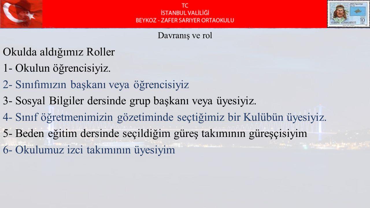 Davranış ve rol Okulda aldığımız Roller 1- Okulun öğrencisiyiz.