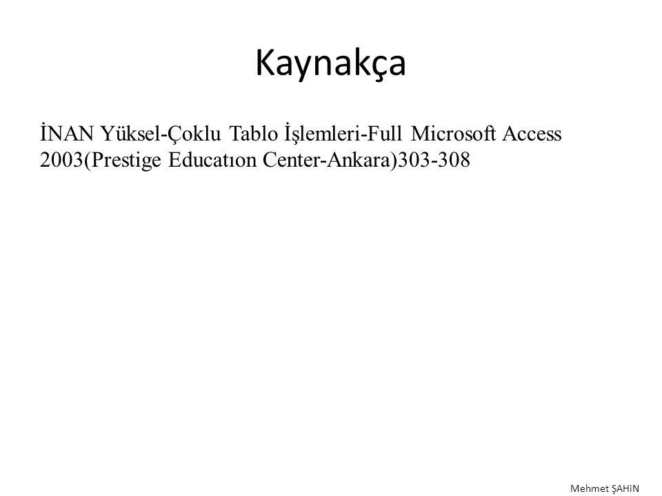 Kaynakça İNAN Yüksel-Çoklu Tablo İşlemleri-Full Microsoft Access 2003(Prestige Educatıon Center-Ankara)303-308 Mehmet ŞAHiN