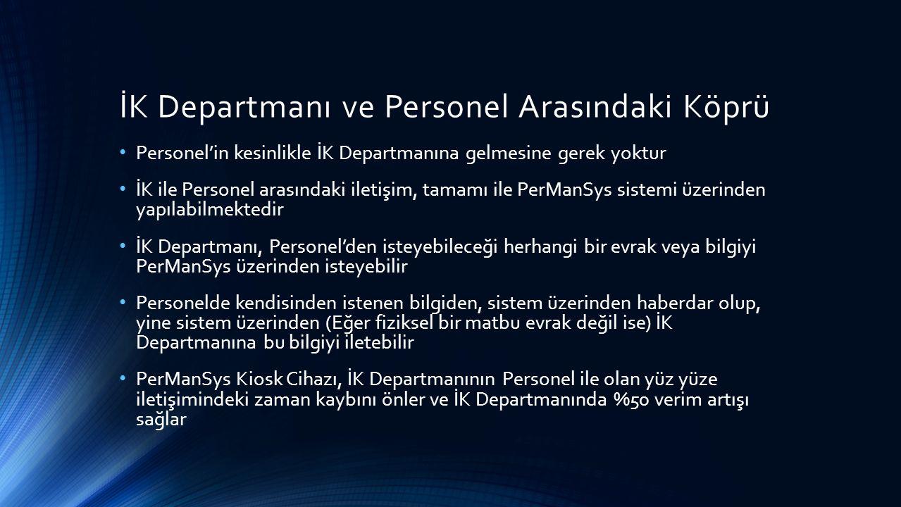İK Departmanı ve Personel Arasındaki Köprü Personel'in kesinlikle İK Departmanına gelmesine gerek yoktur İK ile Personel arasındaki iletişim, tamamı ile PerManSys sistemi üzerinden yapılabilmektedir İK Departmanı, Personel'den isteyebileceği herhangi bir evrak veya bilgiyi PerManSys üzerinden isteyebilir Personelde kendisinden istenen bilgiden, sistem üzerinden haberdar olup, yine sistem üzerinden (Eğer fiziksel bir matbu evrak değil ise) İK Departmanına bu bilgiyi iletebilir PerManSys Kiosk Cihazı, İK Departmanının Personel ile olan yüz yüze iletişimindeki zaman kaybını önler ve İK Departmanında %50 verim artışı sağlar