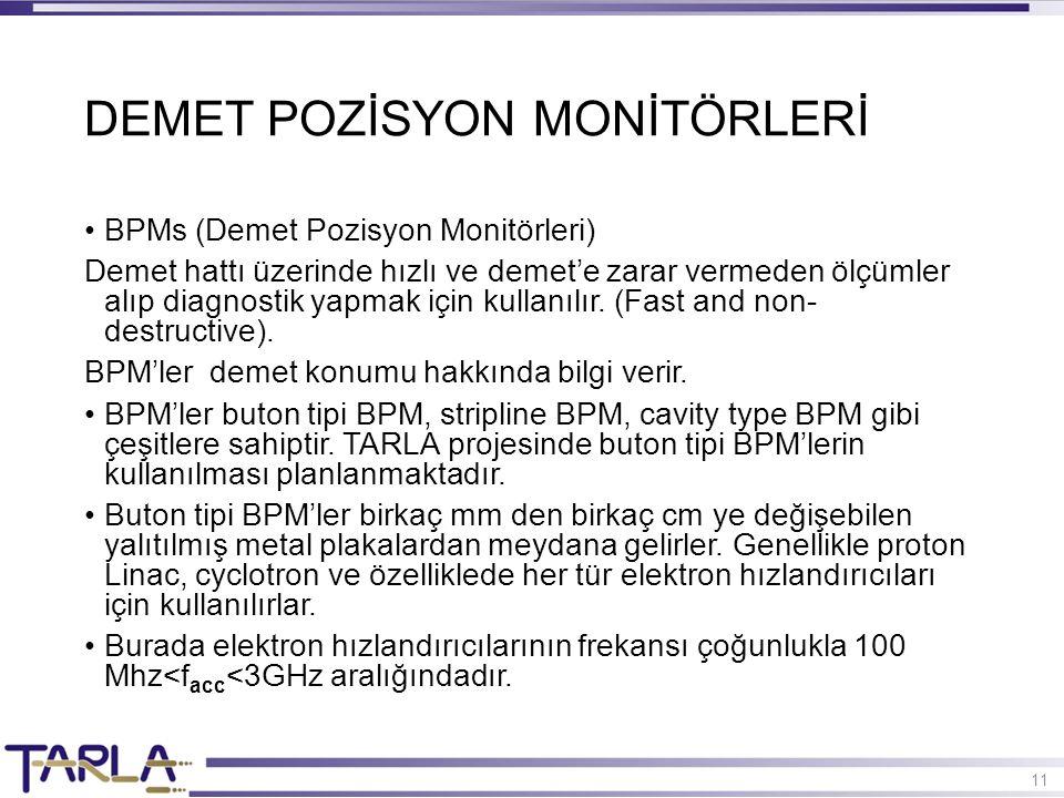 11 BPMs (Demet Pozisyon Monitörleri) Demet hattı üzerinde hızlı ve demet'e zarar vermeden ölçümler alıp diagnostik yapmak için kullanılır. (Fast and n