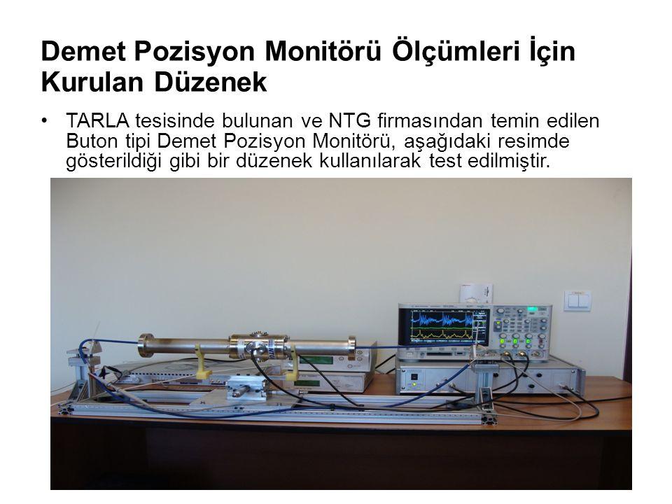 Demet Pozisyon Monitörü Ölçümleri İçin Kurulan Düzenek TARLA tesisinde bulunan ve NTG firmasından temin edilen Buton tipi Demet Pozisyon Monitörü, aşağıdaki resimde gösterildiği gibi bir düzenek kullanılarak test edilmiştir.