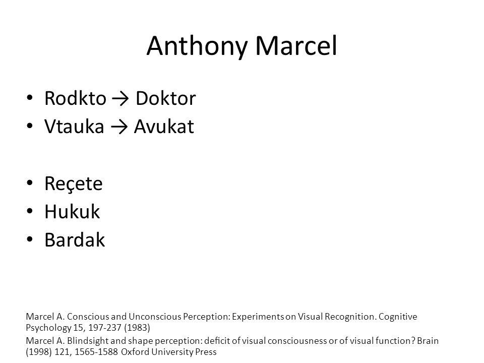 Anthony Marcel Rodkto → Doktor Vtauka → Avukat Reçete Hukuk Bardak Marcel A. Conscious and Unconscious Perception: Experiments on Visual Recognition.