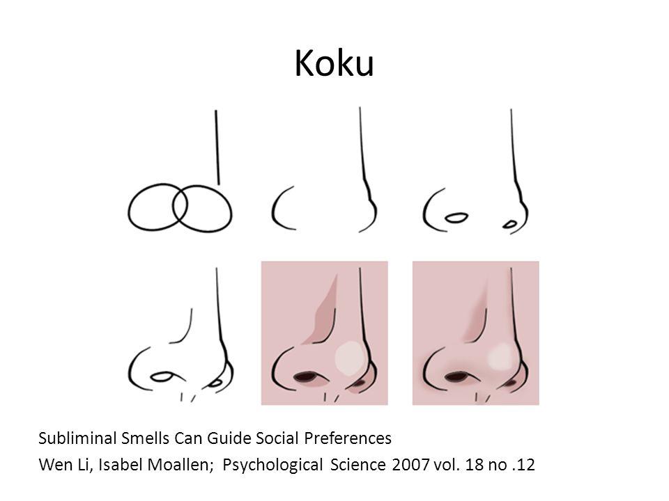 Koku Subliminal Smells Can Guide Social Preferences Wen Li, Isabel Moallen; Psychological Science 2007 vol. 18 no.12