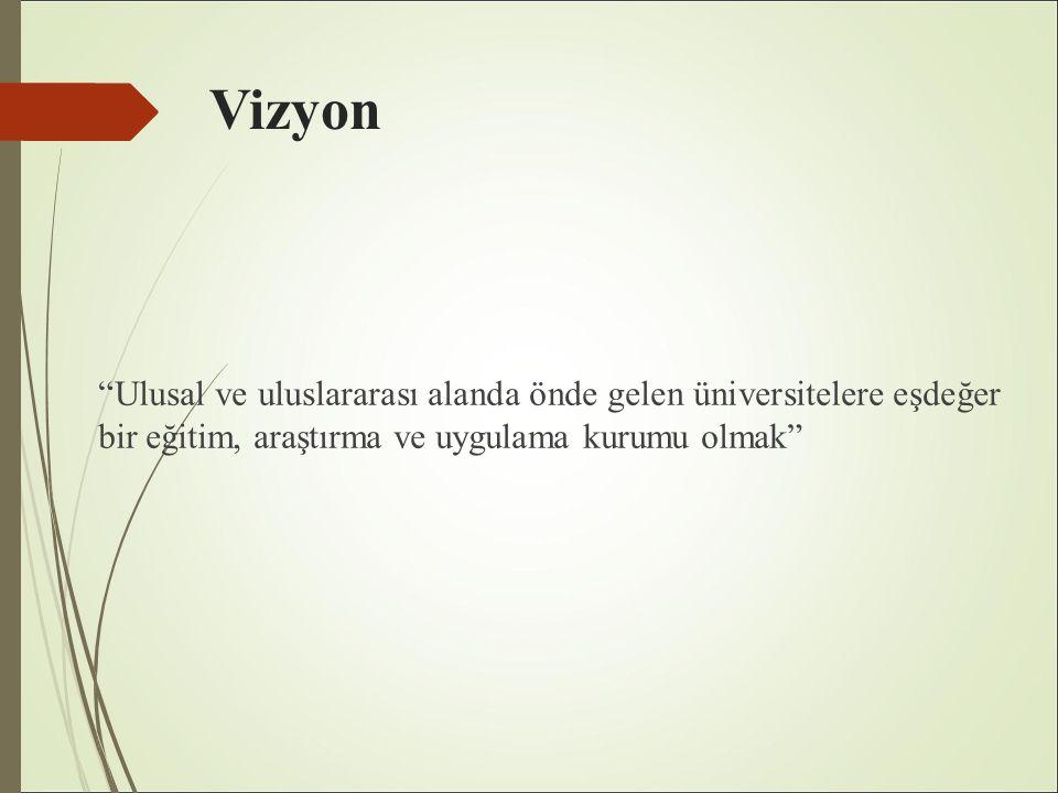 Vizyon Ulusal ve uluslararası alanda önde gelen üniversitelere eşdeğer bir eğitim, araştırma ve uygulama kurumu olmak