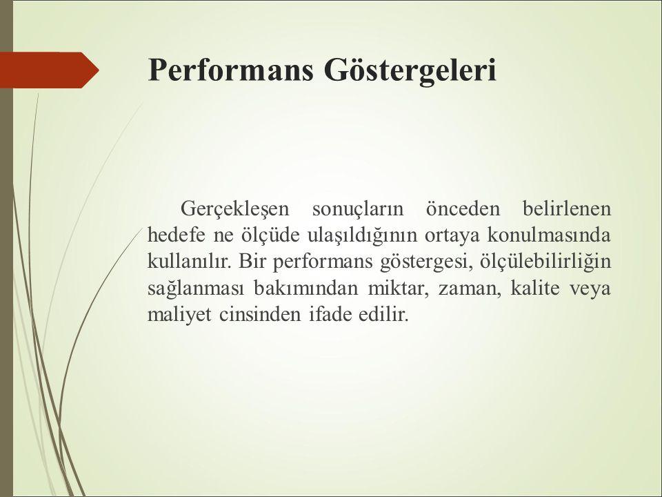 Performans Göstergeleri Gerçekleşen sonuçların önceden belirlenen hedefe ne ölçüde ulaşıldığının ortaya konulmasında kullanılır.