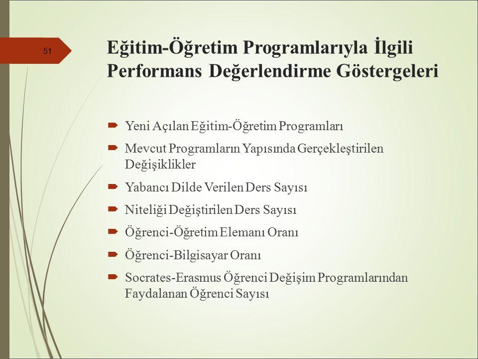Eğitim-Öğretim Programlarıyla İlgili Performans Değerlendirme Göstergeleri  Yeni Açılan Eğitim-Öğretim Programları  Mevcut Programların Yapısında Gerçekleştirilen Değişiklikler  Yabancı Dilde Verilen Ders Sayısı  Niteliği Değiştirilen Ders Sayısı  Öğrenci-Öğretim Elemanı Oranı  Öğrenci-Bilgisayar Oranı  Socrates-Erasmus Öğrenci Değişim Programlarından Faydalanan Öğrenci Sayısı 51