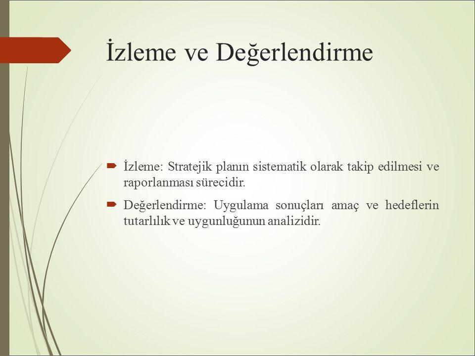 İzleme ve Değerlendirme  İzleme: Stratejik planın sistematik olarak takip edilmesi ve raporlanması sürecidir.