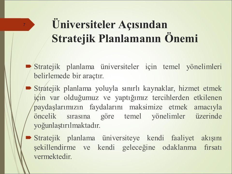 Üniversiteler Açısından Stratejik Planlamanın Önemi  Stratejik planlama üniversiteler için temel yönelimleri belirlemede bir araçtır.