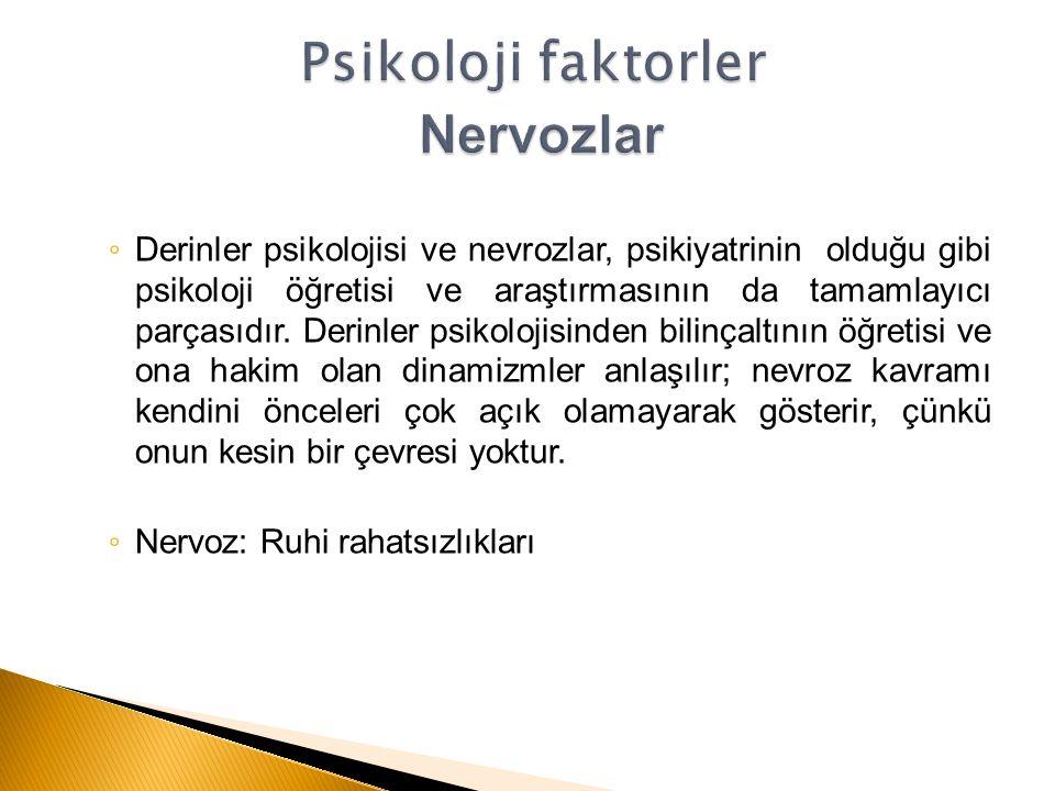 ◦ Derinler psikolojisi ve nevrozlar, psikiyatrinin olduğu gibi psikoloji öğretisi ve araştırmasının da tamamlayıcı parçasıdır.