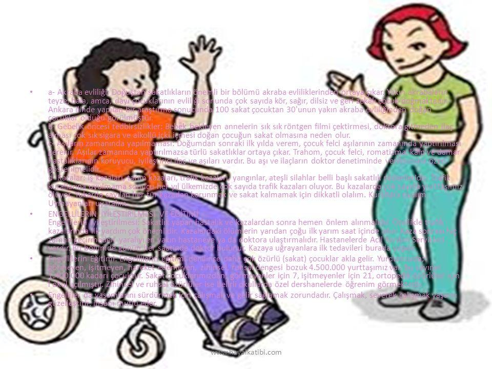 a- Akraba evliliği: Doğuştan sakatlıkların önemli bir bölümü akraba evliliklerinden ortaya çıkar. Yakın akrabaların teyze, hala, amca, dayı çocukları