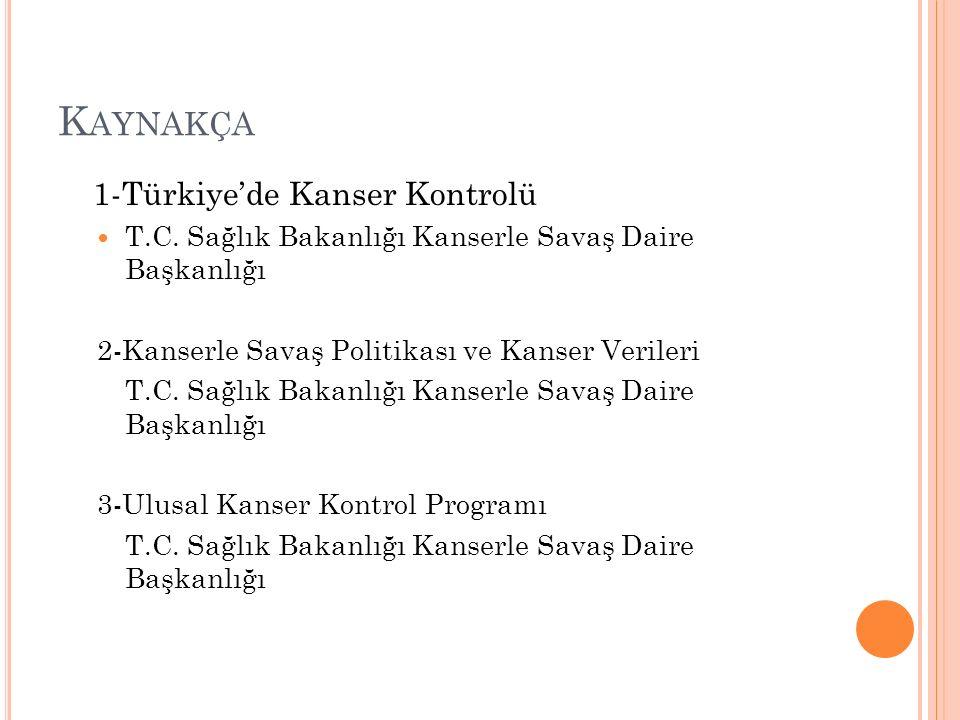 K AYNAKÇA 1-Türkiye'de Kanser Kontrolü T.C.