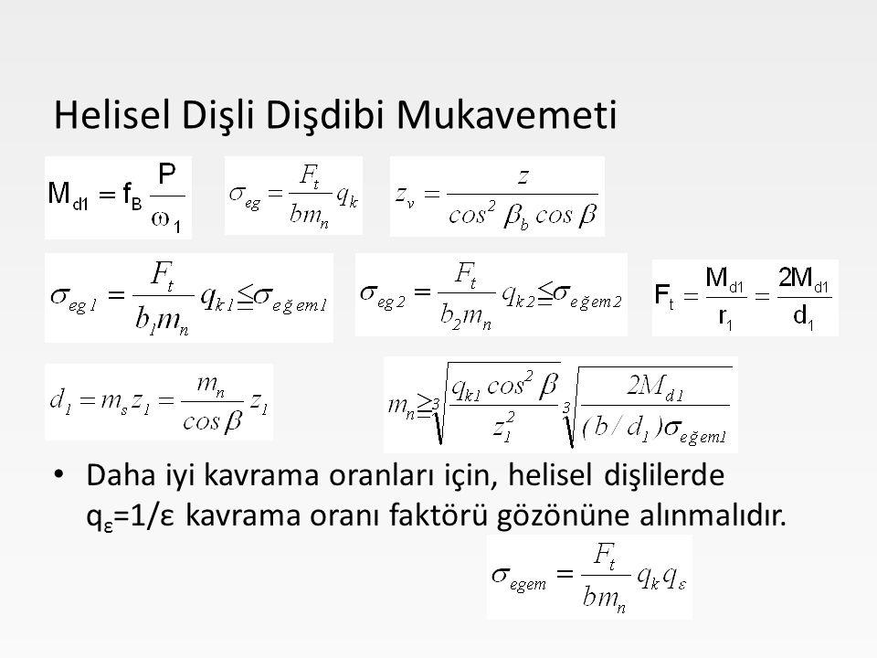 Daha iyi kavrama oranları için, helisel dişlilerde q ε =1/ε kavrama oranı faktörü gözönüne alınmalıdır. Helisel Dişli Dişdibi Mukavemeti