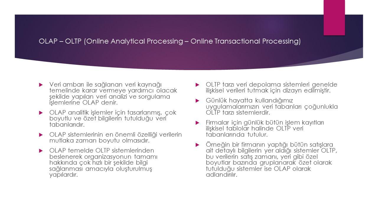 OLAP – OLTP (Online Analytical Processing – Online Transactional Processing)  Veri ambarı ile sağlanan veri kaynağı temelinde karar vermeye yardımcı olacak şekilde yapılan veri analizi ve sorgulama işlemlerine OLAP denir.