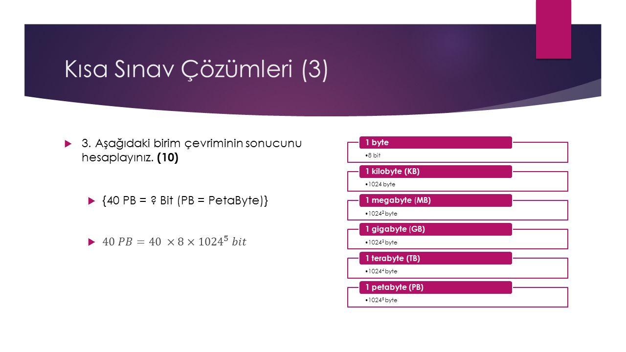 Kısa Sınav Çözümleri (3) 8 bit 1 byte 1024 byte 1 kilobyte (KB) 1024 2 byte 1 megabyte ( MB) 1024 3 byte 1 gigabyte ( GB) 1024 4 byte 1 terabyte (TB) 1024 5 byte 1 petabyte (PB)