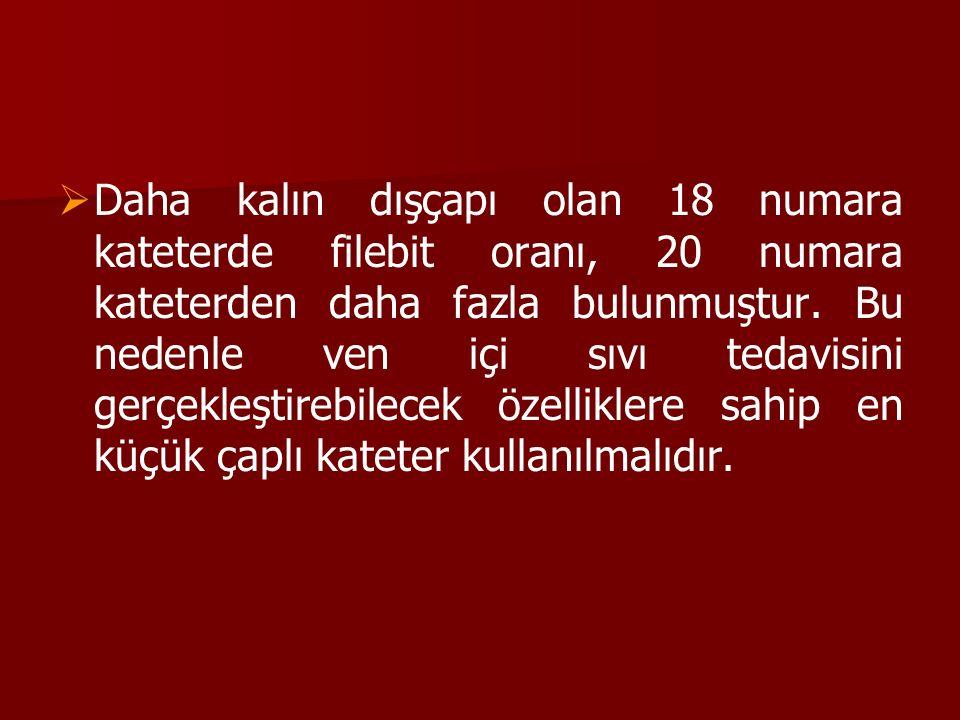   Daha kalın dışçapı olan 18 numara kateterde filebit oranı, 20 numara kateterden daha fazla bulunmuştur. Bu nedenle ven içi sıvı tedavisini gerçekl
