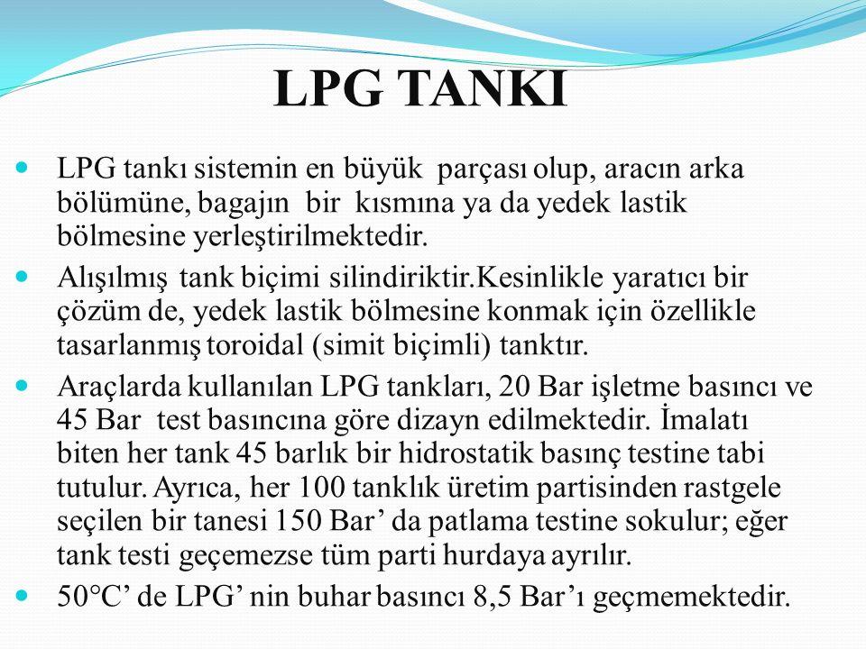 LPG TANKI LPG tankı sistemin en büyük parçası olup, aracın arka bölümüne, bagajın bir kısmına ya da yedek lastik bölmesine yerleştirilmektedir. Alışıl