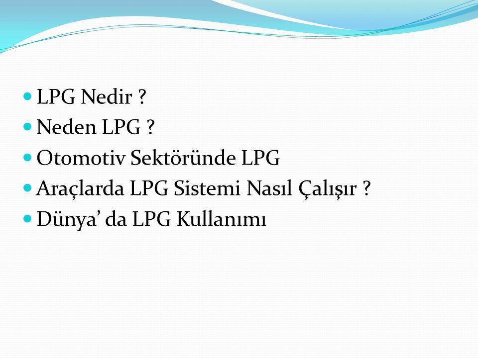 LPG Nedir ? Neden LPG ? Otomotiv Sektöründe LPG Araçlarda LPG Sistemi Nasıl Çalışır ? Dünya' da LPG Kullanımı