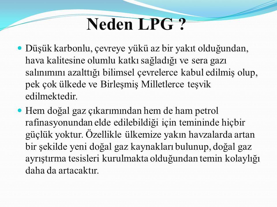 Neden LPG ? Düşük karbonlu, çevreye yükü az bir yakıt olduğundan, hava kalitesine olumlu katkı sağladığı ve sera gazı salınımını azalttığı bilimsel çe