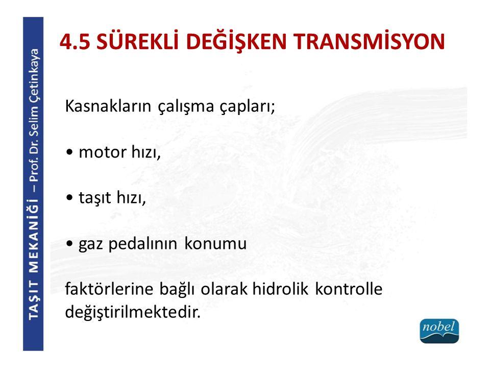 4.5 SÜREKLİ DEĞİŞKEN TRANSMİSYON Kasnakların çalışma çapları; motor hızı, taşıt hızı, gaz pedalının konumu faktörlerine bağlı olarak hidrolik kontrolle değiştirilmektedir.