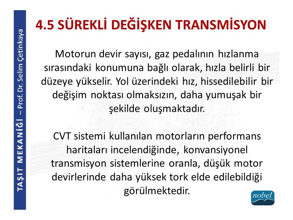 4.5 SÜREKLİ DEĞİŞKEN TRANSMİSYON Motorun devir sayısı, gaz pedalının hızlanma sırasındaki konumuna bağlı olarak, hızla belirli bir düzeye yükselir.