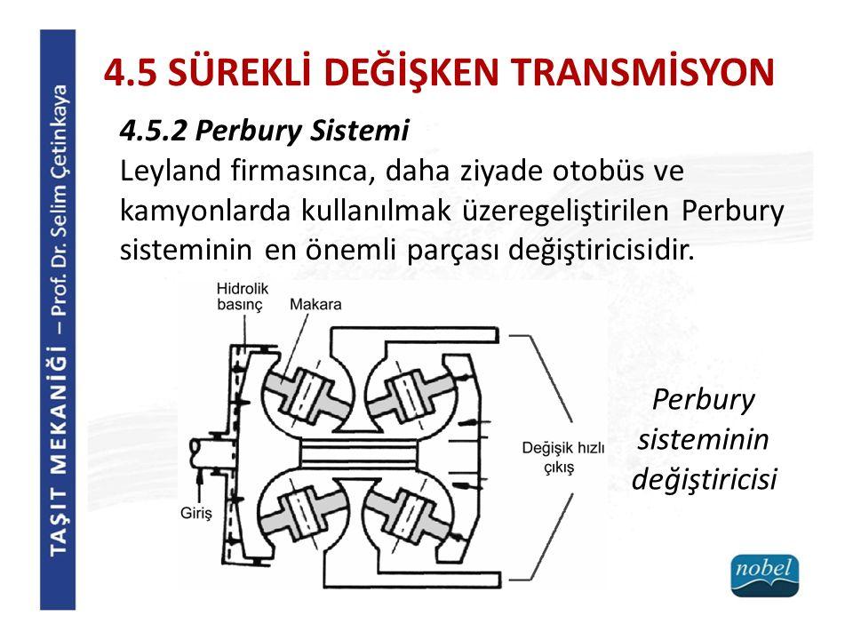 4.5 SÜREKLİ DEĞİŞKEN TRANSMİSYON 4.5.2 Perbury Sistemi Leyland firmasınca, daha ziyade otobüs ve kamyonlarda kullanılmak üzeregeliştirilen Perbury sis