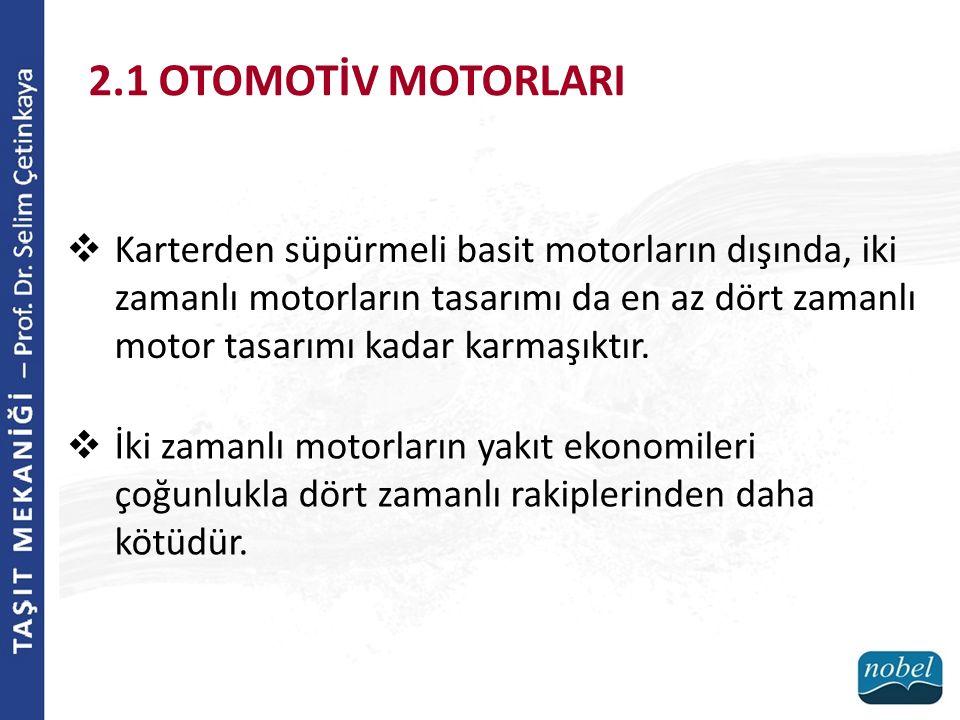 2.1 OTOMOTİV MOTORLARI  Karterden süpürmeli basit motorların dışında, iki zamanlı motorların tasarımı da en az dört zamanlı motor tasarımı kadar karm