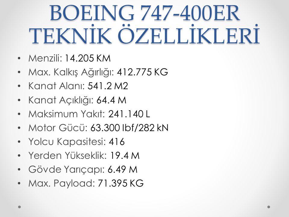 BOEING 747-400ER TEKNİK ÖZELLİKLERİ Menzili: 14.205 KM Max. Kalkış Ağırlığı: 412.775 KG Kanat Alanı: 541.2 M2 Kanat Açıklığı: 64.4 M Maksimum Yakıt: 2