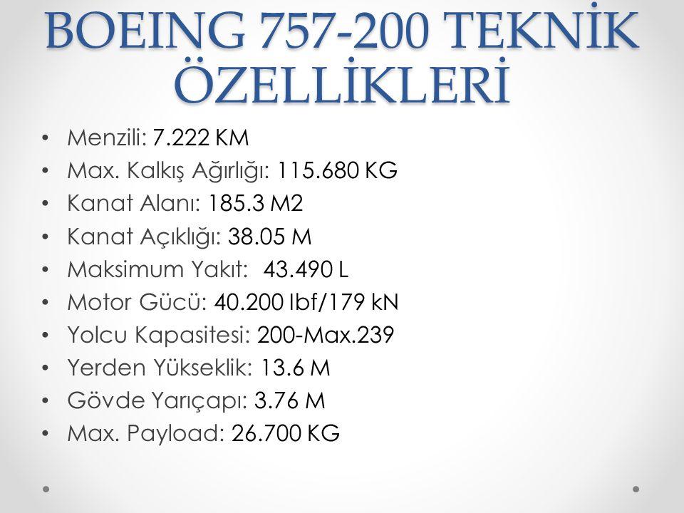 BOEING 757-200 TEKNİK ÖZELLİKLERİ Menzili: 7.222 KM Max. Kalkış Ağırlığı: 115.680 KG Kanat Alanı: 185.3 M2 Kanat Açıklığı: 38.05 M Maksimum Yakıt: 43.