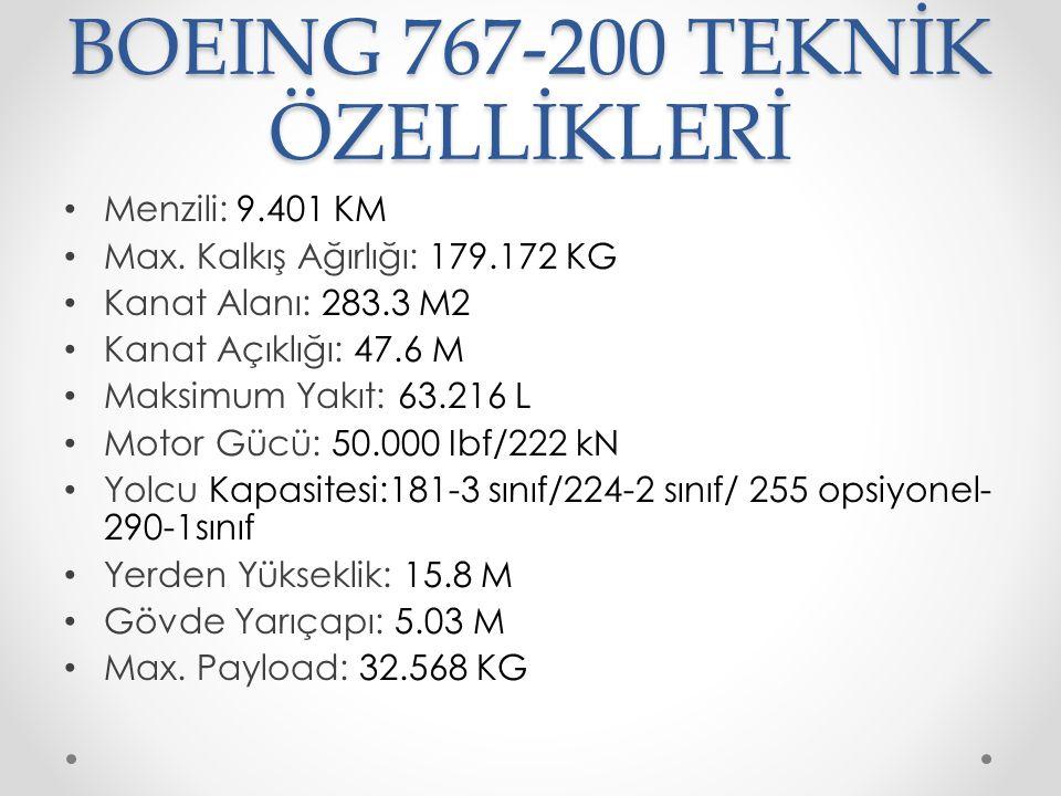 BOEING 767-200 TEKNİK ÖZELLİKLERİ Menzili: 9.401 KM Max.