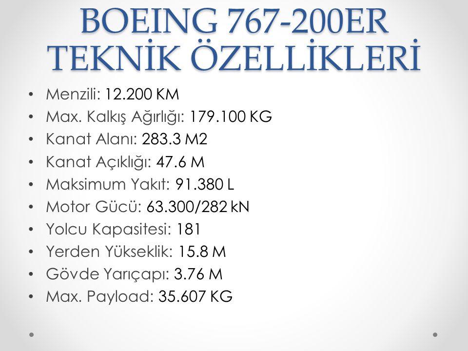 BOEING 767-200ER TEKNİK ÖZELLİKLERİ Menzili: 12.200 KM Max. Kalkış Ağırlığı: 179.100 KG Kanat Alanı: 283.3 M2 Kanat Açıklığı: 47.6 M Maksimum Yakıt: 9