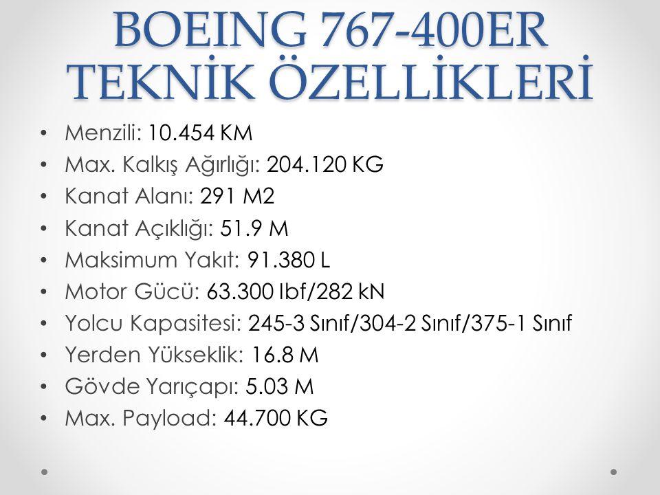 BOEING 767-400ER TEKNİK ÖZELLİKLERİ Menzili: 10.454 KM Max. Kalkış Ağırlığı: 204.120 KG Kanat Alanı: 291 M2 Kanat Açıklığı: 51.9 M Maksimum Yakıt: 91.