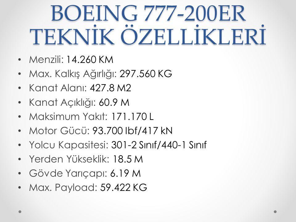 BOEING 777-200ER TEKNİK ÖZELLİKLERİ Menzili: 14.260 KM Max. Kalkış Ağırlığı: 297.560 KG Kanat Alanı: 427.8 M2 Kanat Açıklığı: 60.9 M Maksimum Yakıt: 1