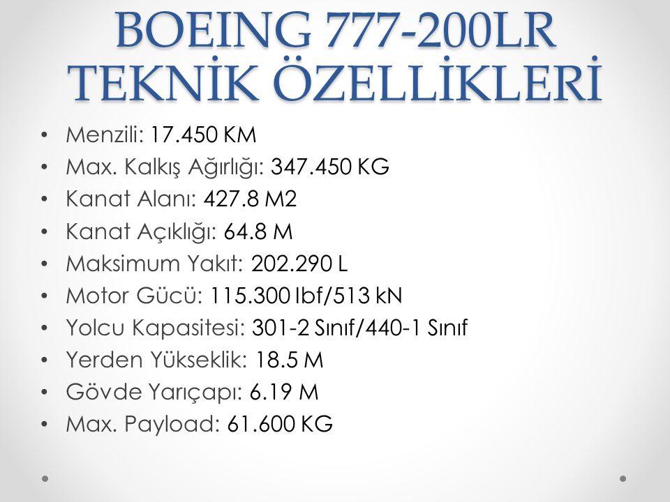BOEING 777-200LR TEKNİK ÖZELLİKLERİ Menzili: 17.450 KM Max. Kalkış Ağırlığı: 347.450 KG Kanat Alanı: 427.8 M2 Kanat Açıklığı: 64.8 M Maksimum Yakıt: 2