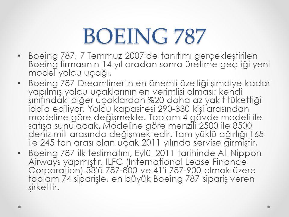 BOEING 787 Boeing 787, 7 Temmuz 2007'de tanıtımı gerçekleştirilen Boeing firmasının 14 yıl aradan sonra üretime geçtiği yeni model yolcu uçağı. Boeing