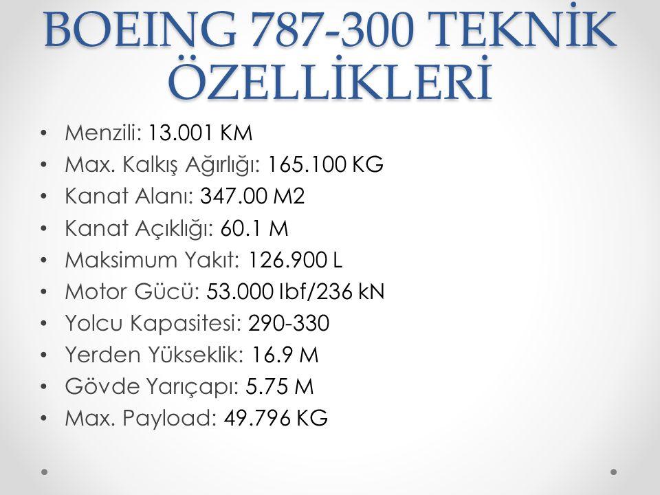 BOEING 787-300 TEKNİK ÖZELLİKLERİ Menzili: 13.001 KM Max. Kalkış Ağırlığı: 165.100 KG Kanat Alanı: 347.00 M2 Kanat Açıklığı: 60.1 M Maksimum Yakıt: 12